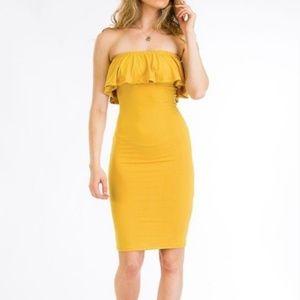 capella Dresses   Strapless Tube Dress Mustard